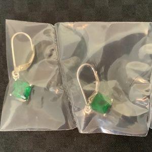 AVON Sterling Silver Emerald color earrings